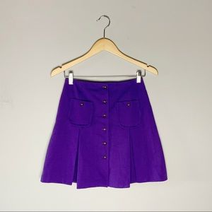 70s pleated button front skirt
